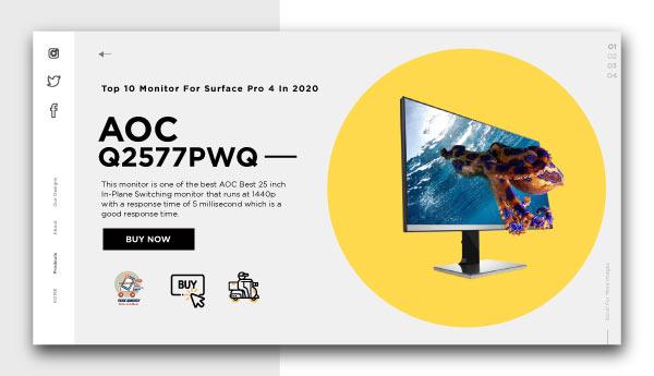 monitor for surface pro 4-AOC Q2577PWQ