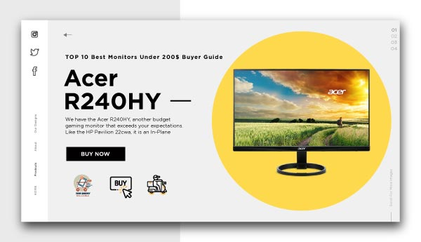 Best Monitors Under 200$-Acer R240HY