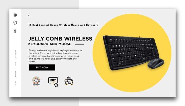 best longest range wireless mouse and keyboard-JELLY COMB WIRELESS