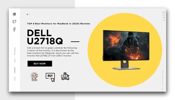 best monitors for Macbook-DELL U2718Q