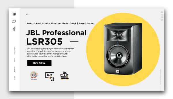 best studio monitors under 100$-JBL Professional LSR305
