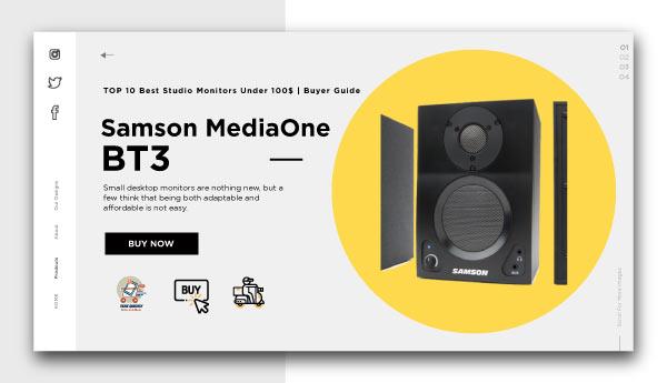 best studio monitors under 100$-Samson MediaOne BT3