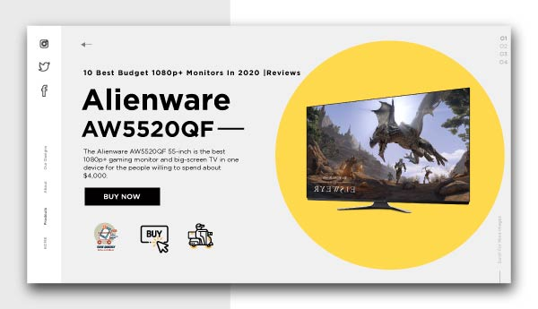 best budget 1080p+ monitors-Alienware-AW5520QF