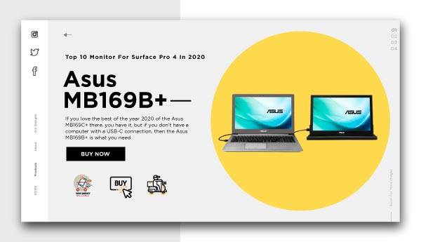 monitor for surface pro 4-Asus-MB169B