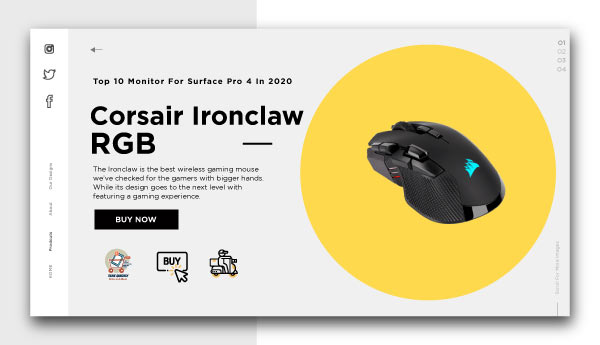 best wireless gaming mouse-Corsair-Ironclaw-RGB
