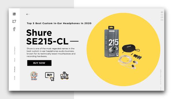 best custom in-ear headphones-Shure-SE215-CL-Sound-Isolating-Earphones