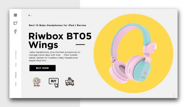 Baby Headphones for IPad-Riwbox-BT05-Wings-Kids-Headphones